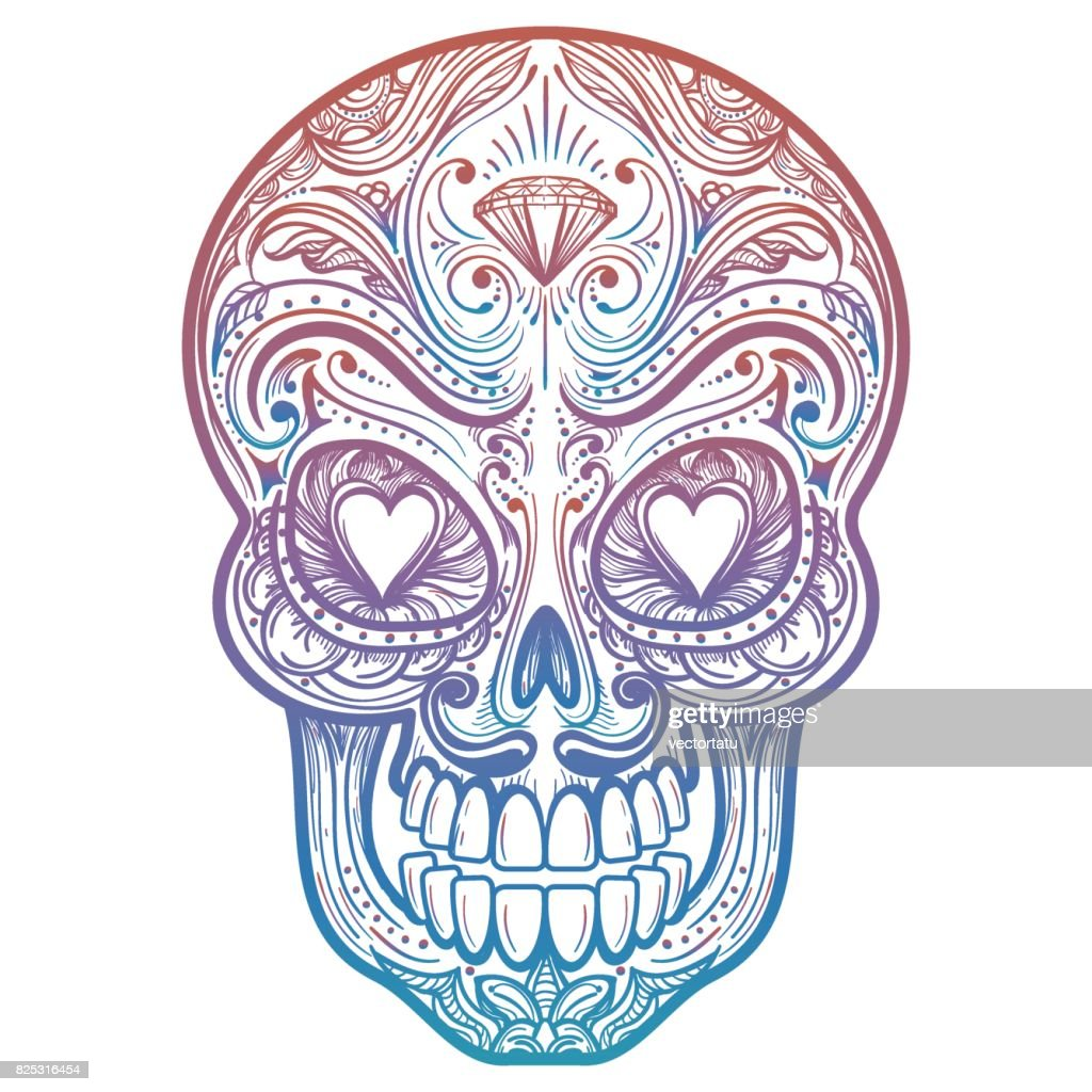 Colorful mexican decorative skull tattoo
