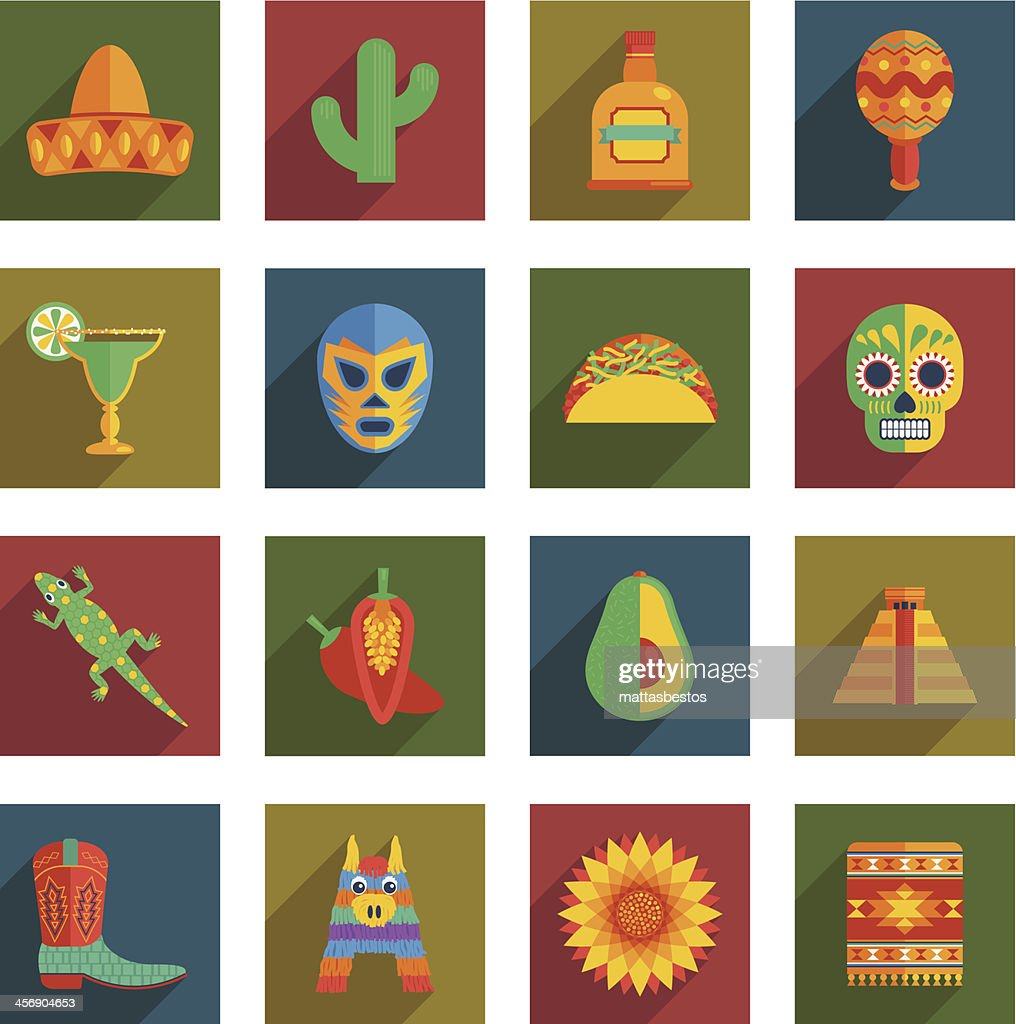 Colorful Mexican icons of similar size in a grid format
