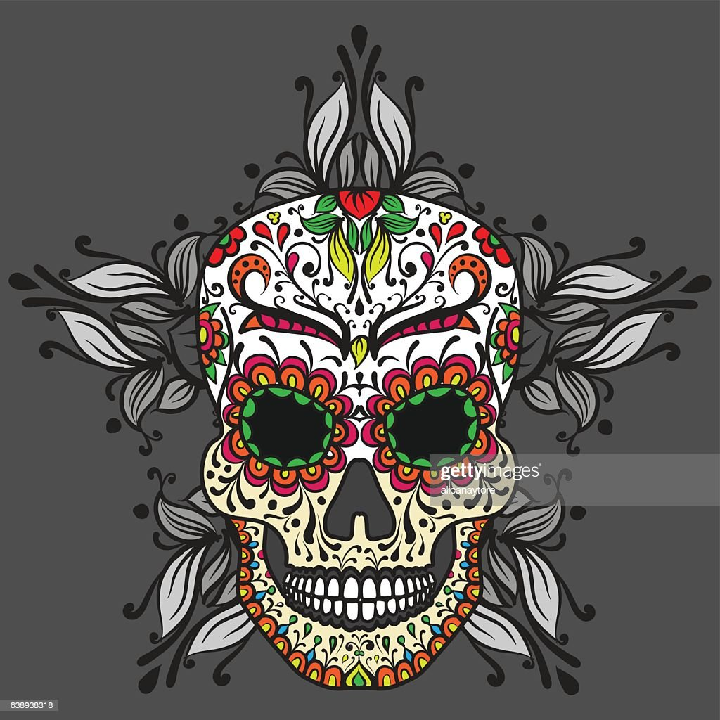 Colorful Mexican sugar skull Day of dead icon