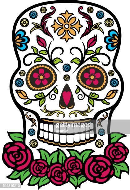 ilustrações de stock, clip art, desenhos animados e ícones de colorido crânio de açúcar mexicano - mexicano