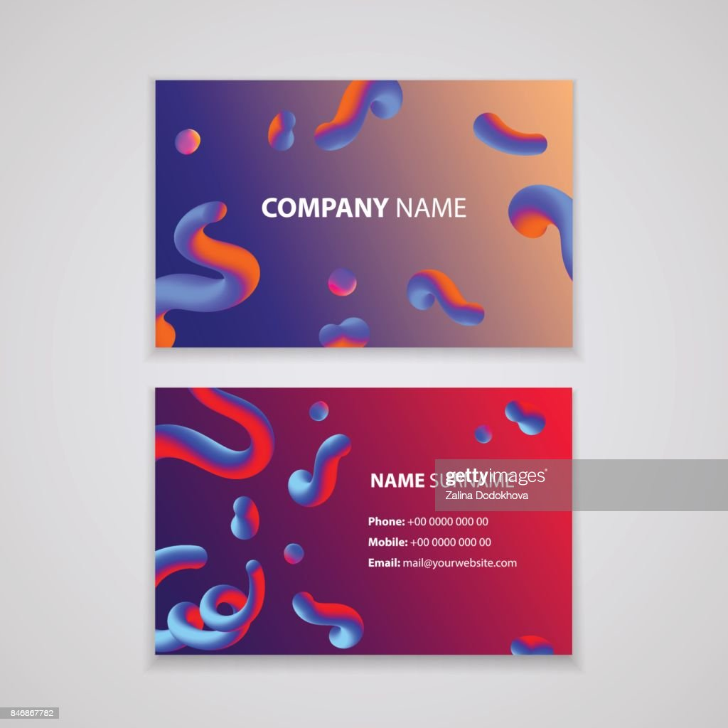 Colorful Modern Business Card Design Template With Abstract Colorful