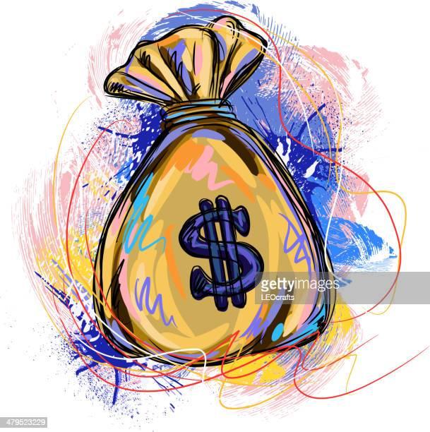ilustraciones, imágenes clip art, dibujos animados e iconos de stock de bolsa de dinero colorido - símbolo del dólar