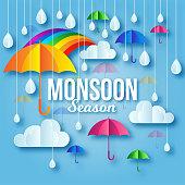 Colorful Monsoon Season Paper Art Background Illustration