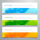 colorful mosaic banners set of three