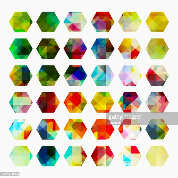 colorful mosaic hexagon pattern buttons