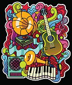 Colorful music background. Vector illustration. Place for text.