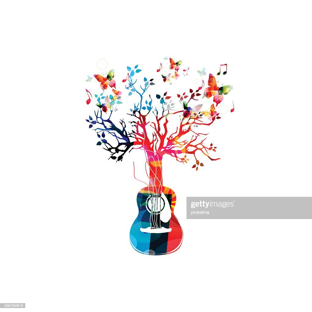 Colorful music background with guitar tree and butterflies