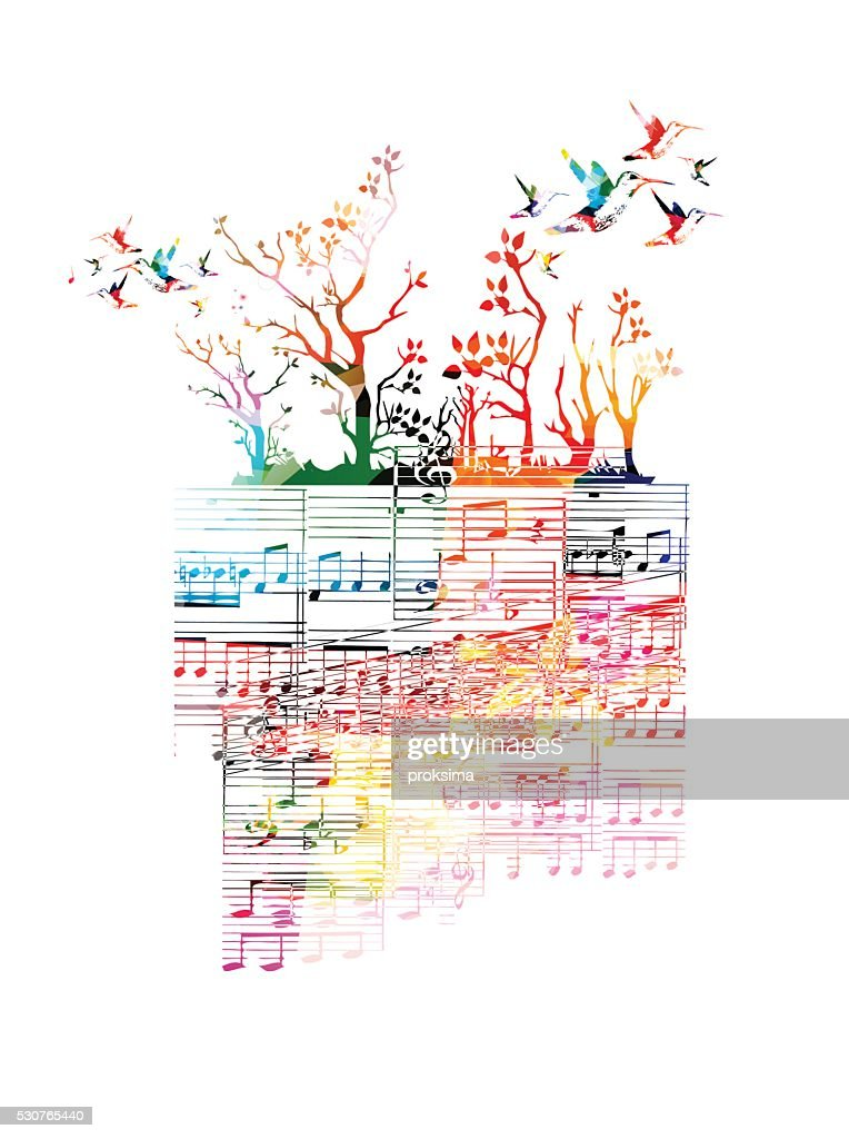 Colorful music background with music notes and hummingbirds
