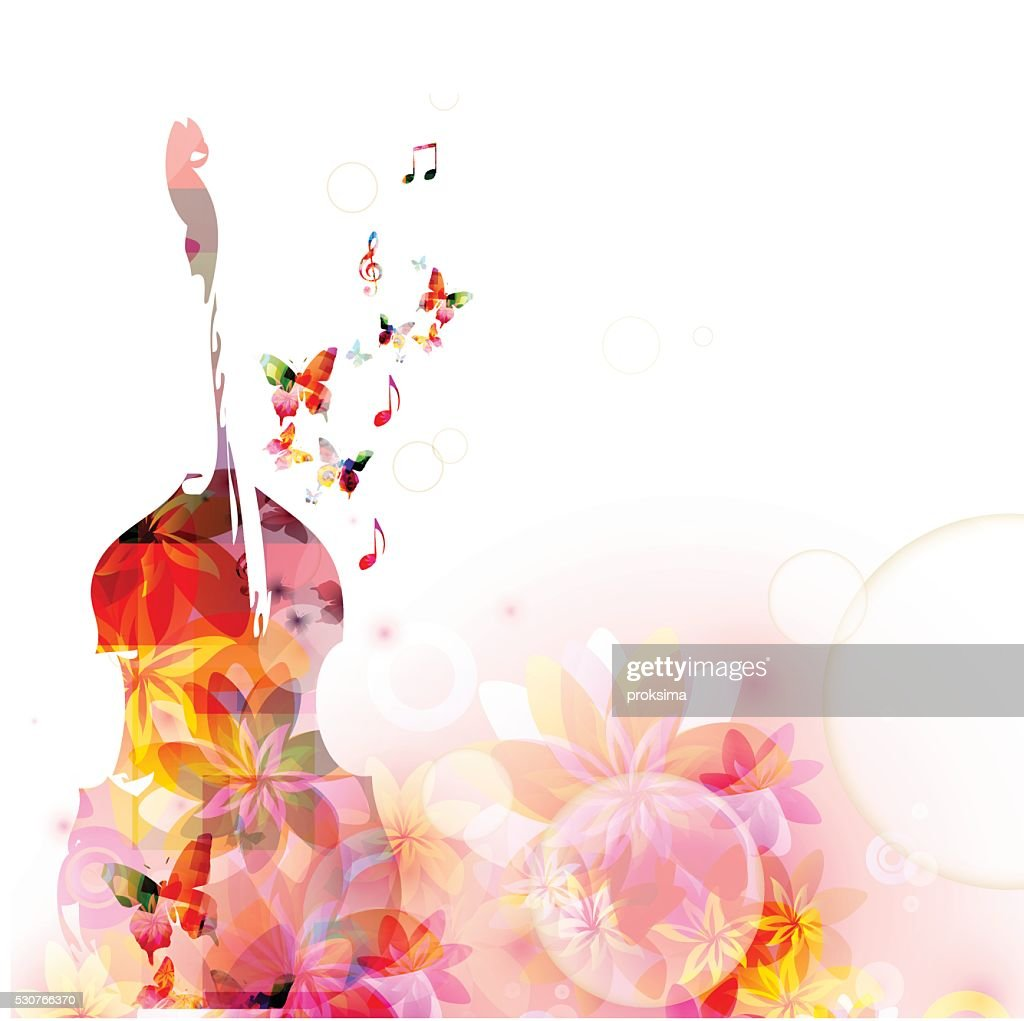 Colorful music background with violoncello and butterflies