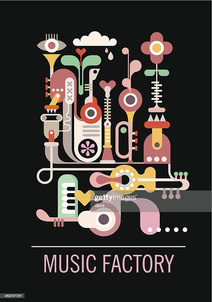 Colorful music factory abstract design