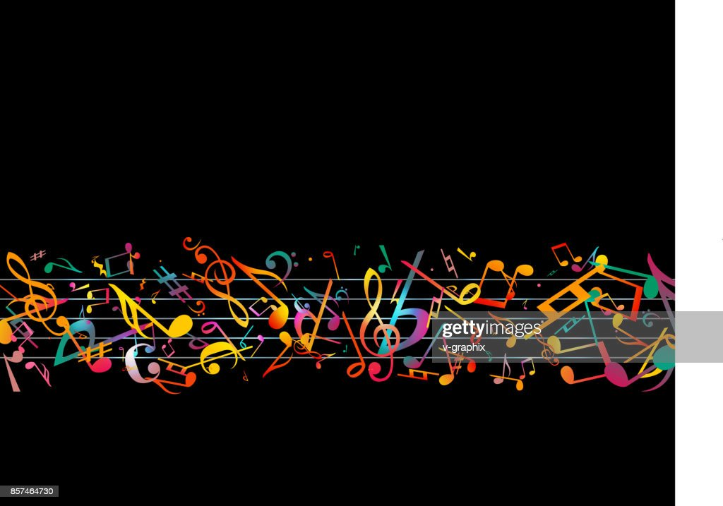 Colorful Music Notes Vector Illustration Abstract Black