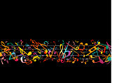 Colorful Music notes. Vector Illustration Abstract black background.