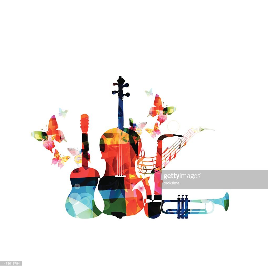 Colorful musical instruments background