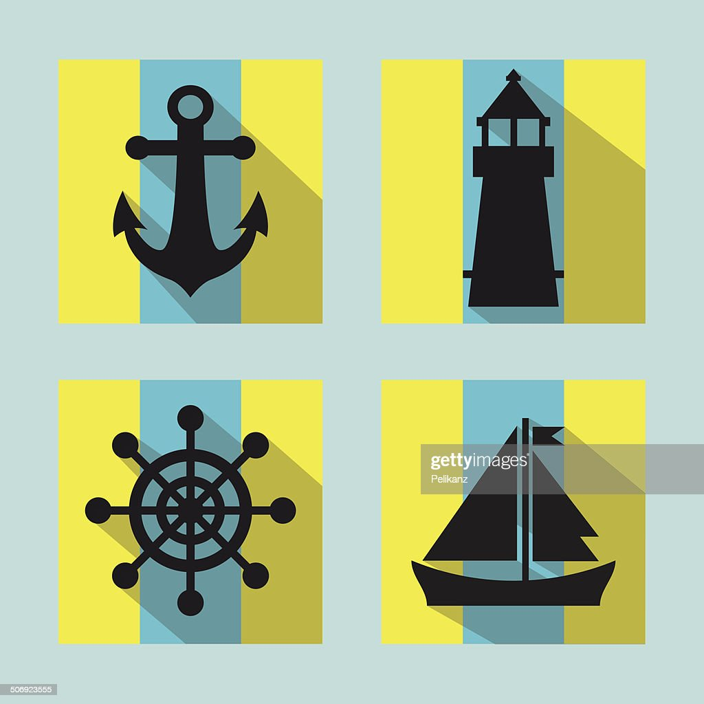 Colorful naval icons set with long shadow