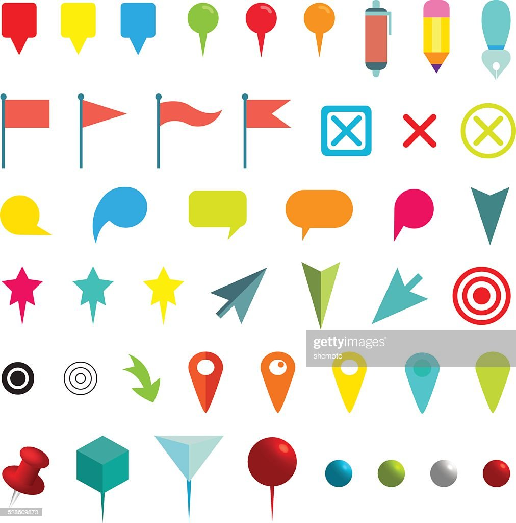 Colorful Navigation Pins. Isolated on White. Vector Illustration