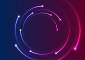 Colorful neon spiral lines abstract background