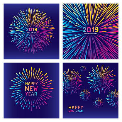 Colorful new year fireworks set - gettyimageskorea