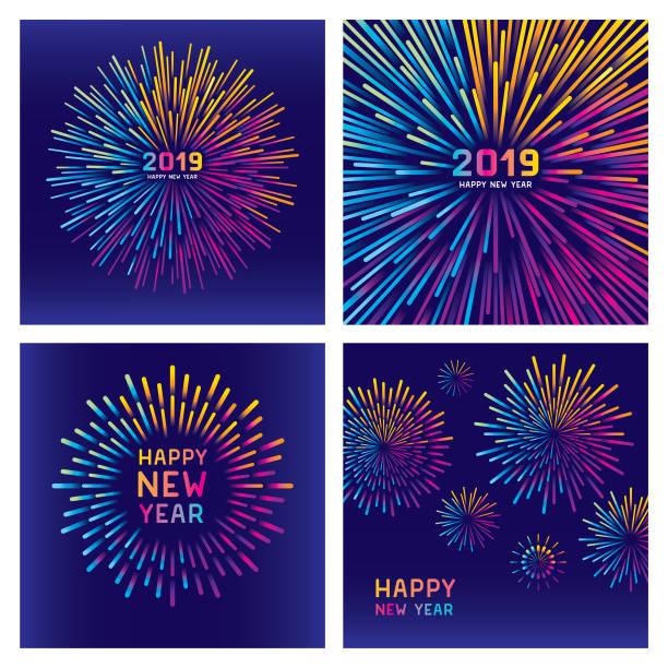 colorful new year fireworks set - rainbow stock illustrations