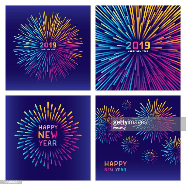 colorful new year fireworks set - new year's eve stock illustrations