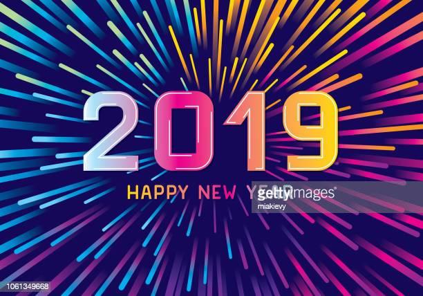 ilustrações, clipart, desenhos animados e ícones de fogos de artifício coloridos de ano novo - 2019