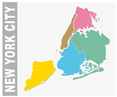Colorful New York City administrative and political map, united states
