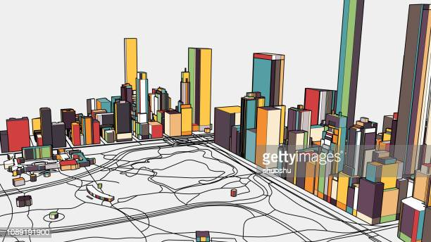 colorful new york city illustration 3d background - physical geography stock illustrations