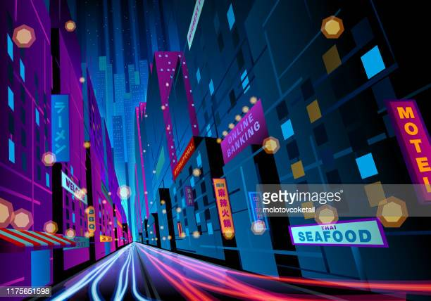 bunte nachtstraße mit schildern - hauptstraße stock-grafiken, -clipart, -cartoons und -symbole