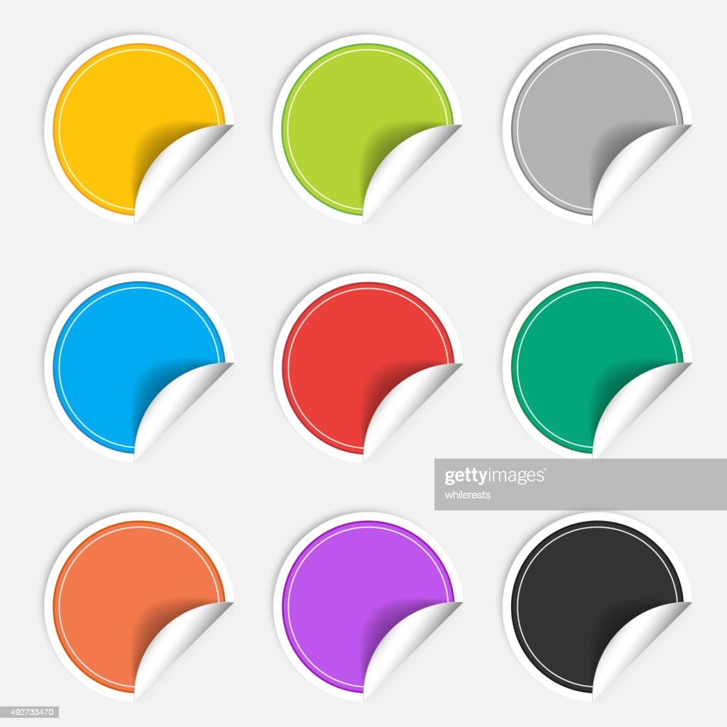 Colorful nine blank stickers set. Badge collection. Vector illustration