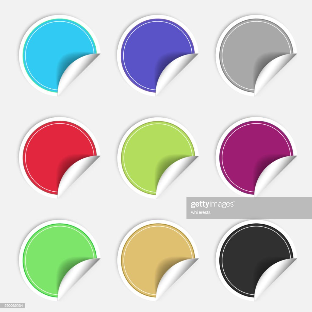 Colorful nine blank stickers set. Badge collection. Vector illustration.
