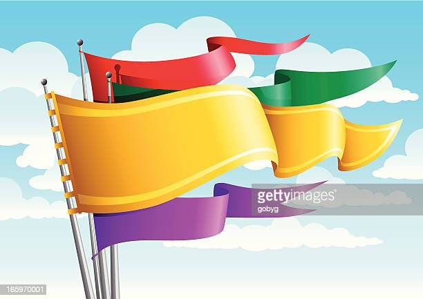 colorful old style flags - pennon stock illustrations
