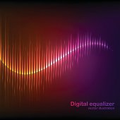 Colorful orange-purple digital shining equalizer