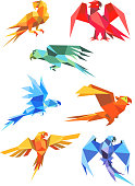 Colorful origami paper stylized parrots