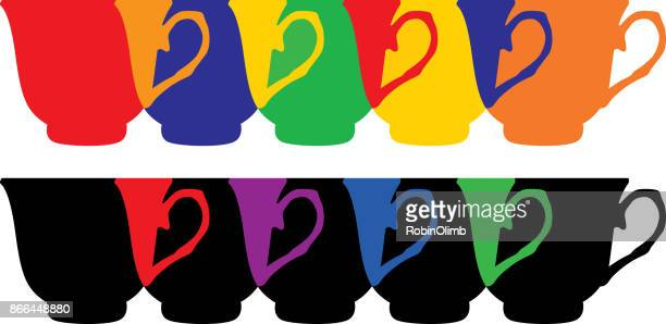 Colorful Overlapping Teacups