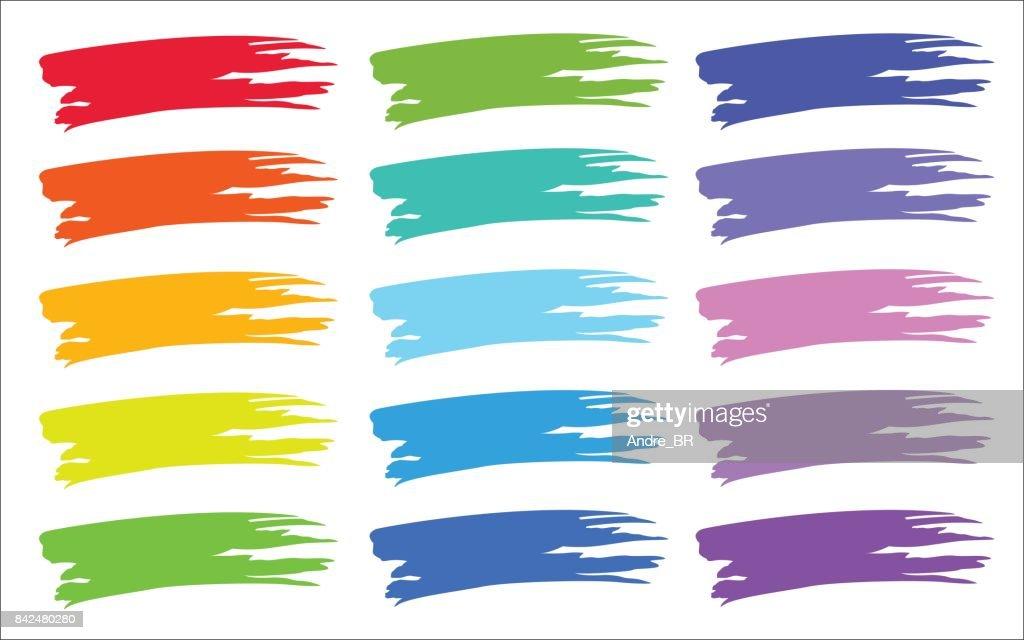 Colorful paint brush strokes set