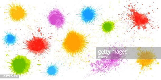 illustrations, cliparts, dessins animés et icônes de éclaboussures de peinture colorées - peinture