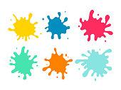 Colorful paint spots set
