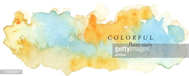 colorful paint stain - watercolor background stock illustrations