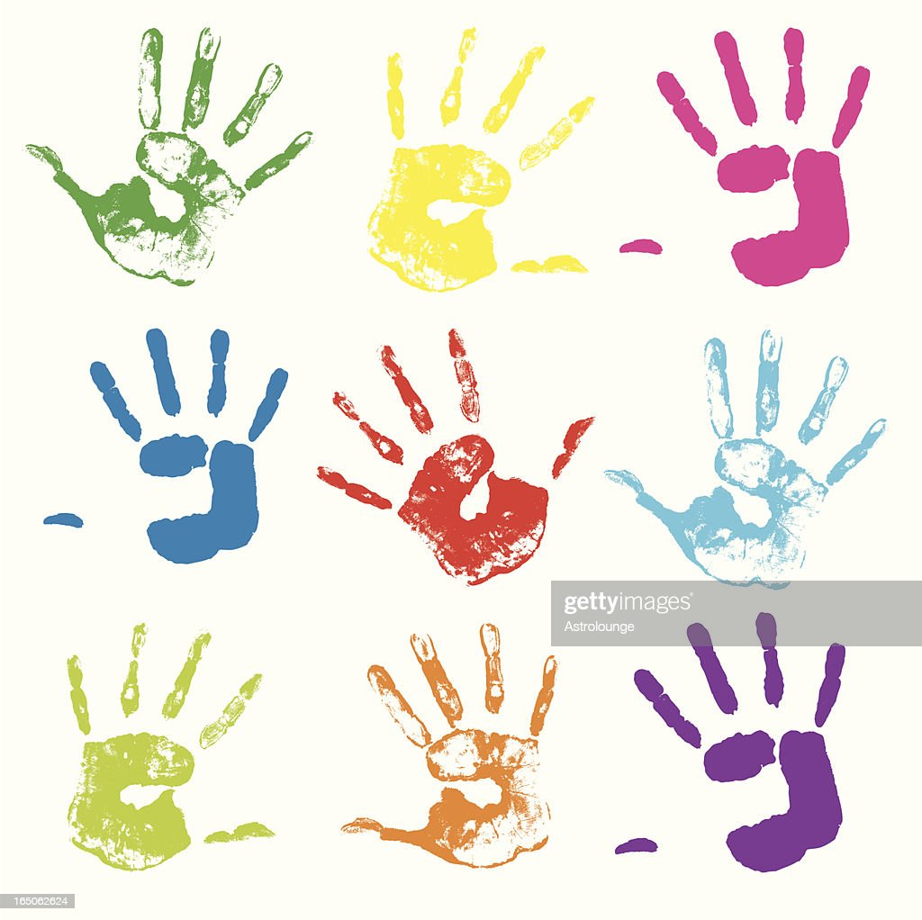 Colorful painted handprints on a white background