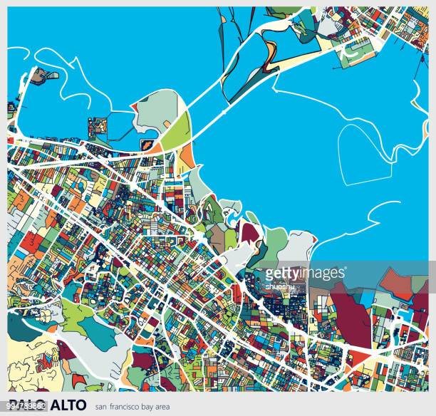 カラフルなパロ ・ アルト市芸術探訪アートマップ - palo alto and 街点のイラスト素材/クリップアート素材/マンガ素材/アイコン素材