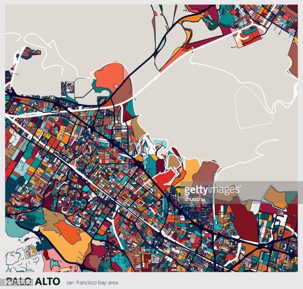 カラフルなパロ ・ アルト市芸術探訪アートマップ - palo alto点のイラスト素材/クリップアート素材/マンガ素材/アイコン素材