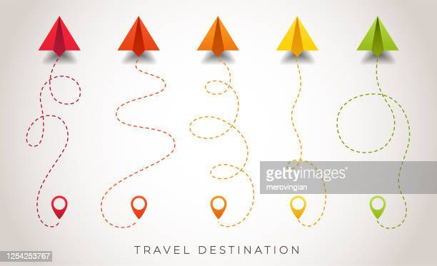 colorful paper airplanes flying on route - single lane road stock illustrations