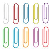 Colorful paper clips set.  Isolated. White background.