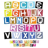 Colorful Paper Cut Vector Funky Alphabet