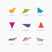 Colorful paper plane icons