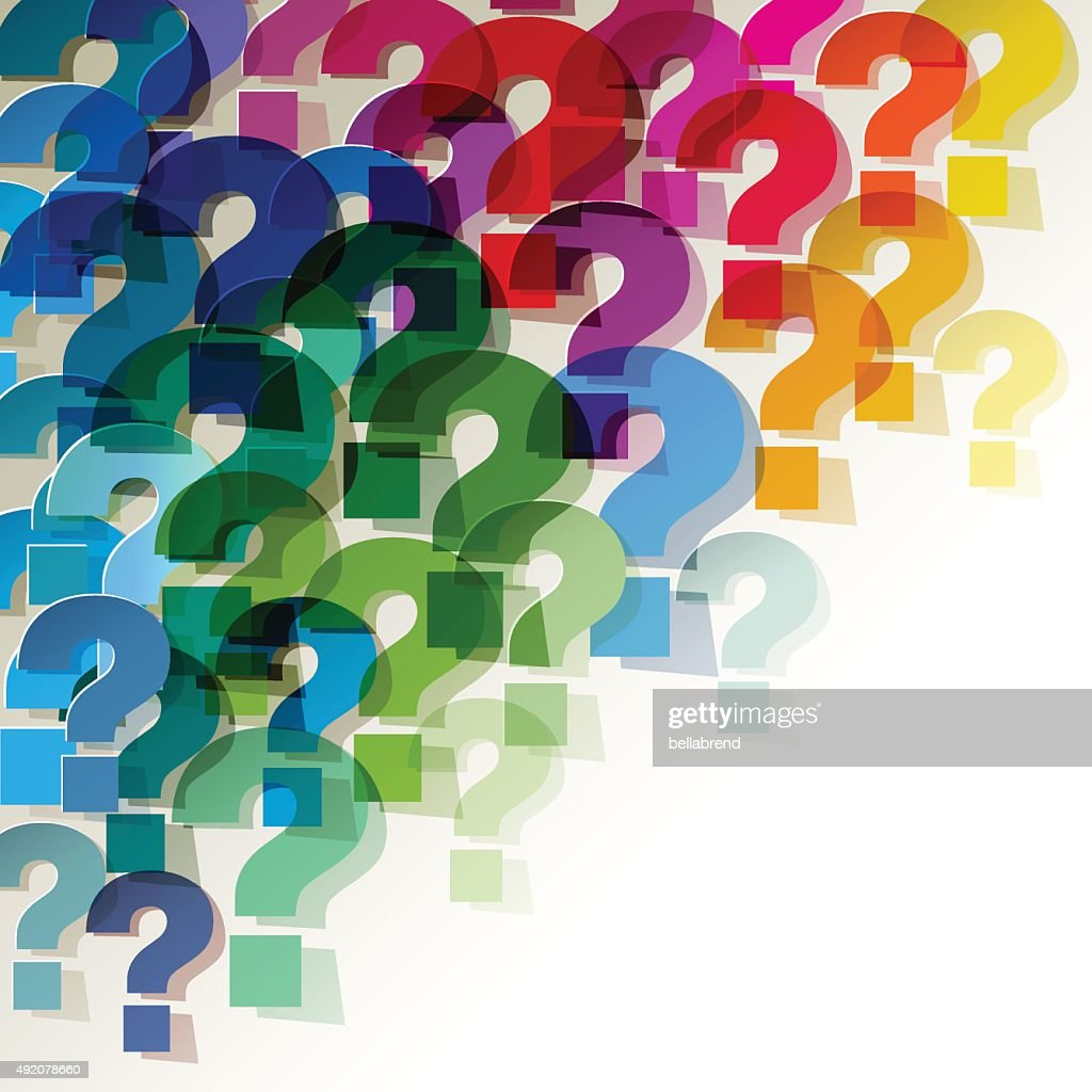 Colorful paper transparent question marks in corner on white background.