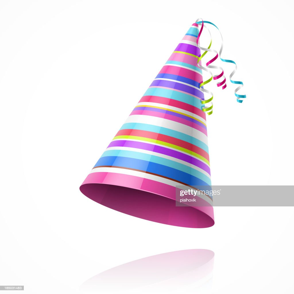 Colorful party hat isolated on white background