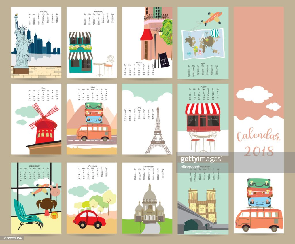 Colorful pastel monthly calendar 2018 with travel,vacation,van,air plane and eiffel tower in france.Can be used for web,banner,poster,label and printable