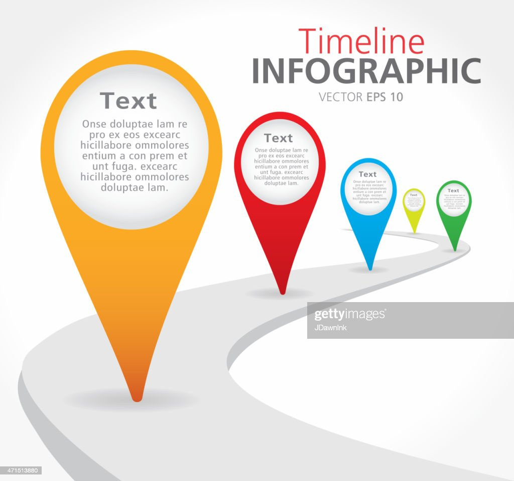 Colorful path Timeline infographic with graph comparison : stock illustration