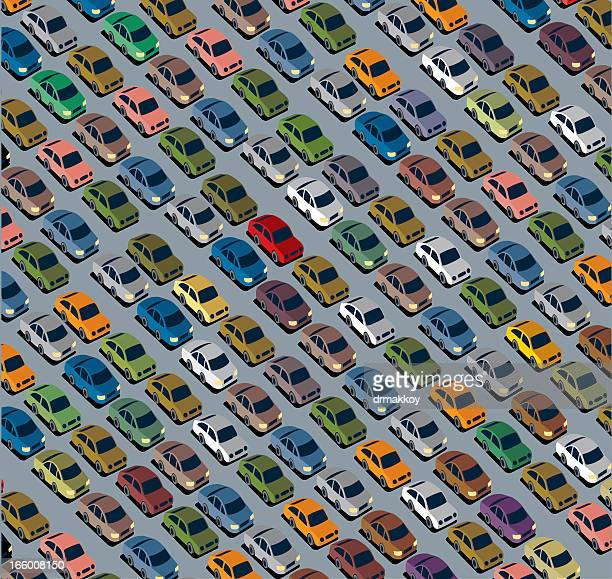 Colorful pattern with tiny cars on a gray background