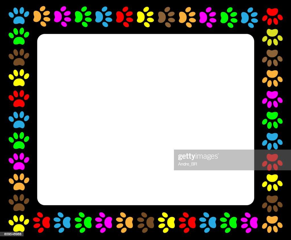 Colorful paw prints animal black frame